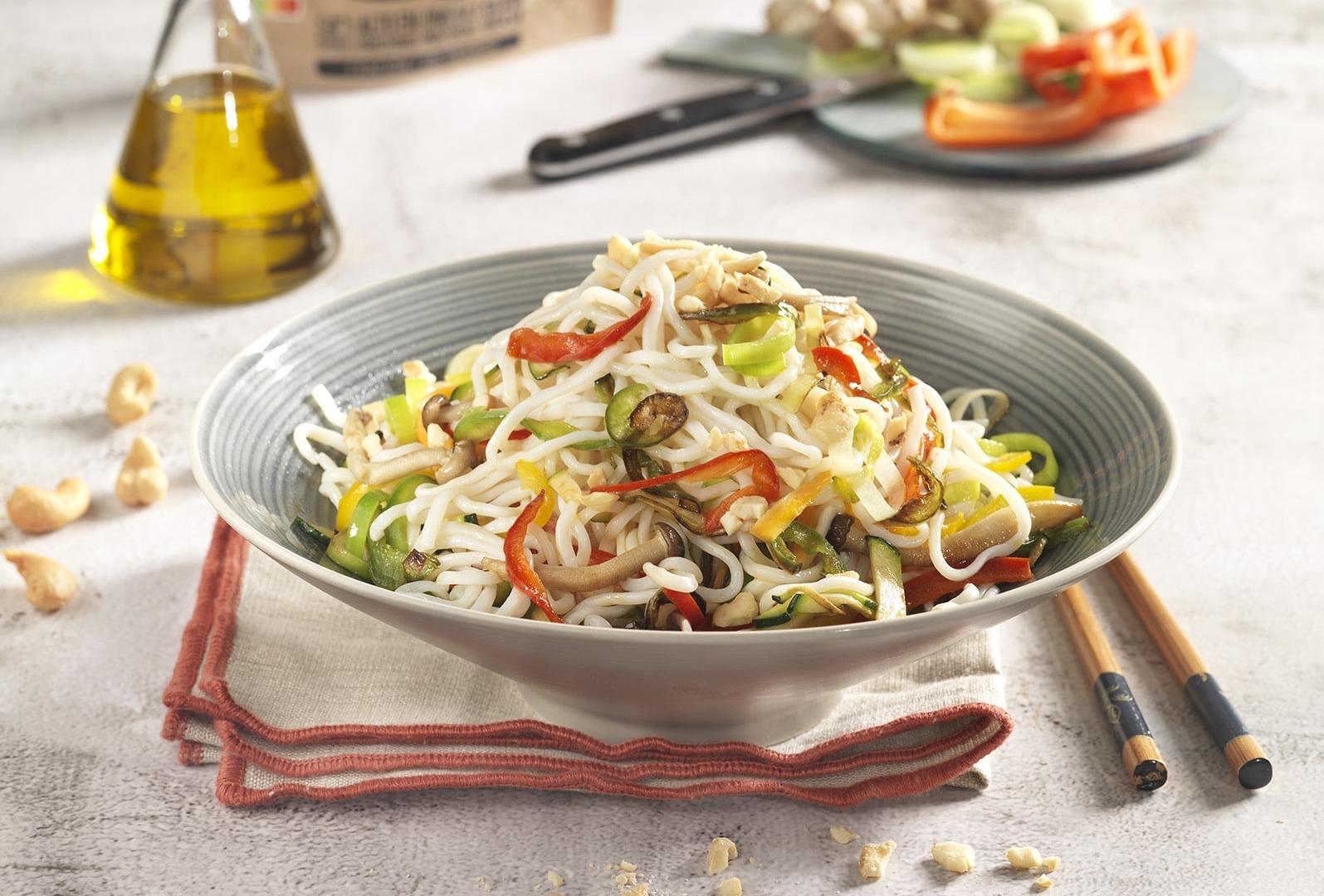 Wok de Espaguetis de Merluza