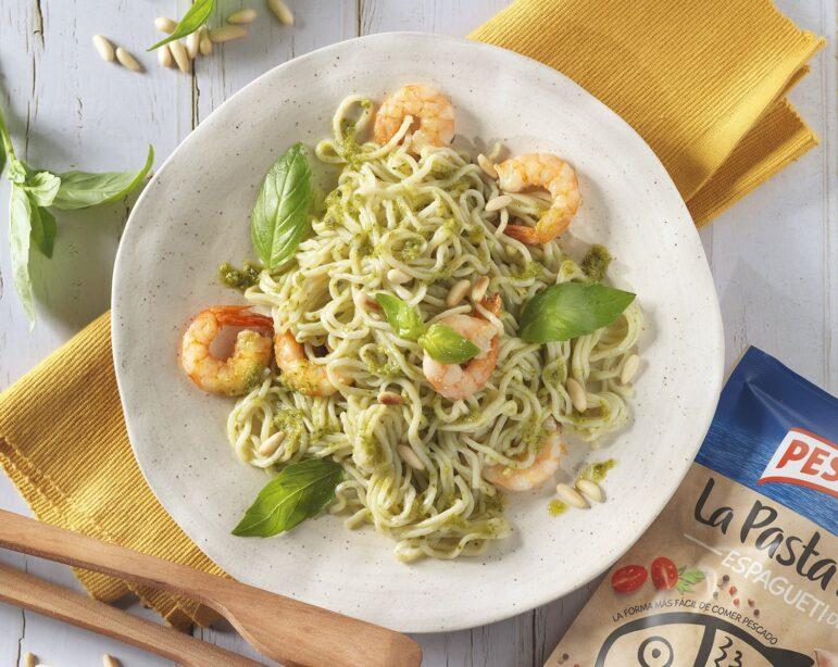 Espaguetis de Merluza con salsa pesto